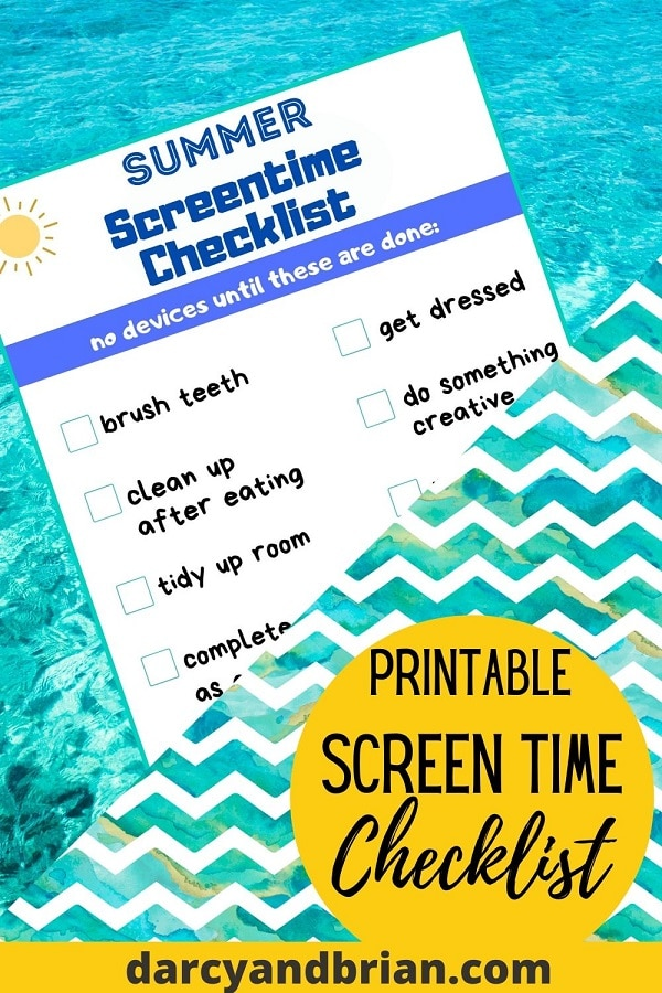 Preview of screen time checklist on a light blue water background. Blue and white wavy lines cover part of list at an angle. Yellow circle at bottom with black text stating Printable Screen Time Checklist.