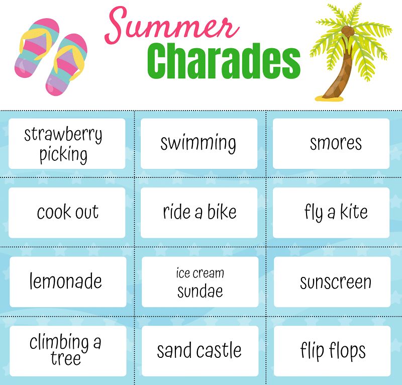 Preview of upper half of printable summer charades game with 12 of the clue cards.