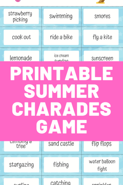 Preview image of printable summer charades cards with pink square over the middle with white text overlay stating Printable Summer Charades Game.