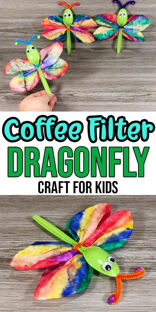 top image of completed coffee filter dragonflies with woman's hand holding one up and bottom image shows closer view of dragonfly craft. Text overlay in middle states Coffee Filter Dragonfly Craft for Kids.