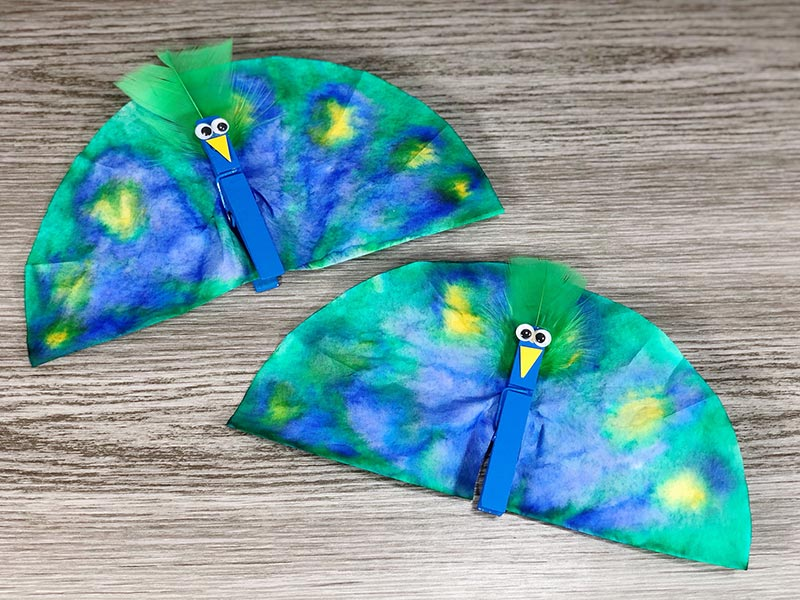 Two peacock craft projects laying next to each other on gray wood background.
