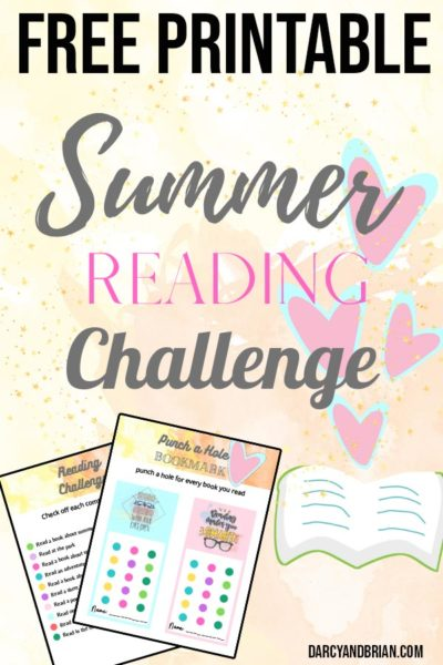 Text overlay Summer Reading Challenge with small preview images of printable pages on light yellow background with hearts coming out of an open book.