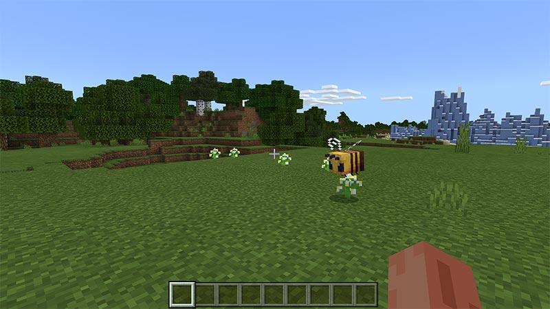 Bee landing on flower in grassy area in Minecraft