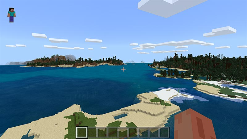 In game image from Minecraft character viewpoint in the sky, looking at water and different spots of land. Blocky clouds also in the sky.