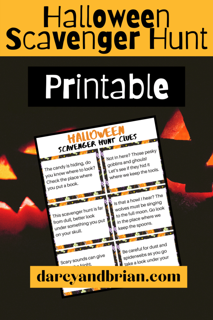 Preview image of printable sheet of scavenger hunt clue cards on a glowing jack-o-lantern background. Black text on orange box at top says Halloween Scavenger Hunt. White text on black box says Printable.