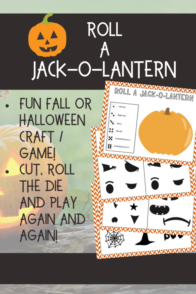 Preview images of Roll A Jack-o-Lantern activity pages with text description of the game with a jack-o-lantern image in the background.