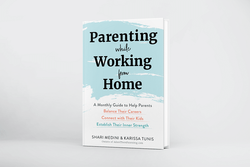 Parenting While Working From Home hardcover book standing up on white background.