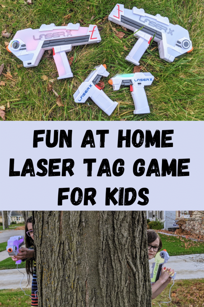 Laser X Evolution and Micro Blasters with lights on laying in green grass on top part of image. Bottom image shows boy and girl with Laser X laser guns peeking around a tree. Between both images is a light gray box with black text that says Fun At Home Laser Tag Game for Kids.