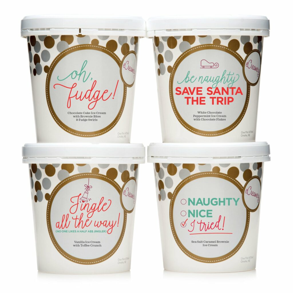 Four pints of holiday themed ice cream