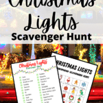 White text on small red rectangle reads Printable. Black text on partially transparent white rectangle reads Christmas Lights Scavenger Hunt. Preview image of two printable scavenger hunts with Christmas decorations on it over background image of a house with holiday decorations lit up at night.