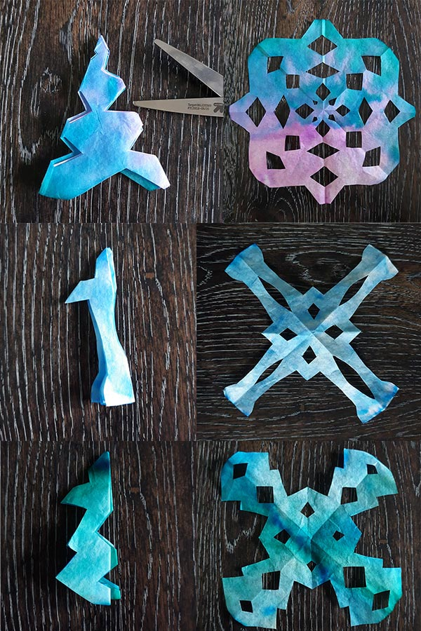 Collage of three sets of side by side photos showing how coffee filter was cut next to unfolded, complete snowflake to show design result.