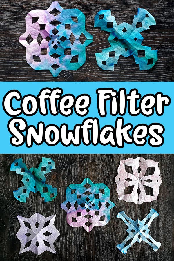 Top show two completed coffee filter snowflakes that are a blend of pink, purple, and blue colors. Bottom shows five different shaped coffee filter snowflakes. Middle has light blue rectangle with white text that reads Coffee Filter Snowflakes.
