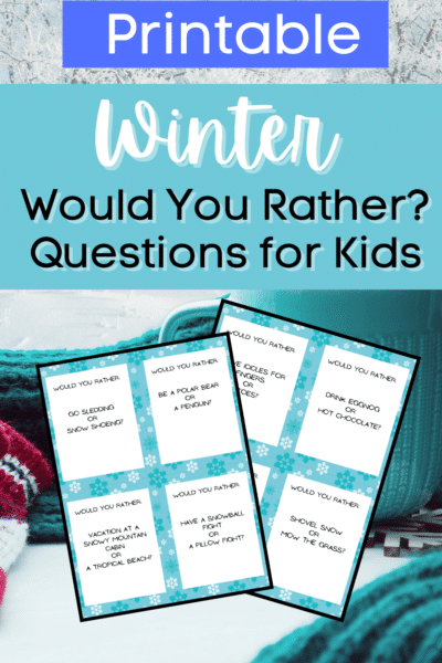 Two pages of would you rather question cards on background of gloves, scarf, and teal coffee mug. White and black text on blue rectangles at top say Printable Winter Would You Rather? Questions for Kids.