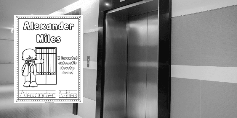 Alexander Miles printable coloring page on a background with elevators.