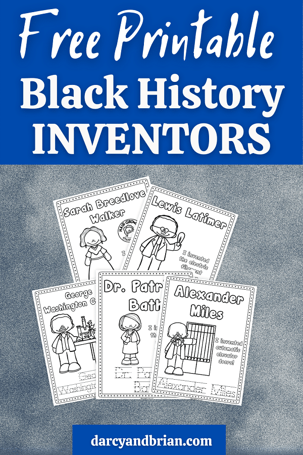 Free Printable Black History Inventors written in white text on a dark blue box at top. Preview of printable coloring pages featuring Black inventors overlapping each other on a textured gray background.