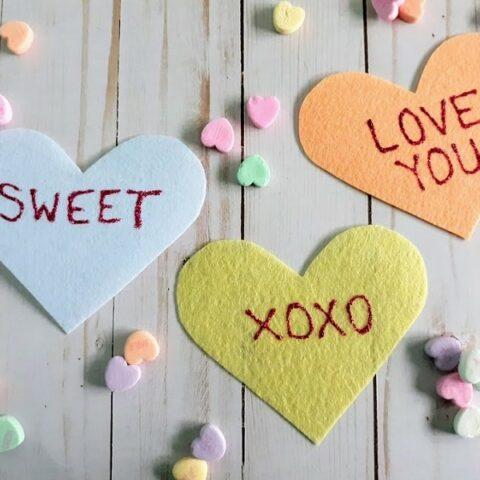 Felt Conversation Heart Valentines Craft
