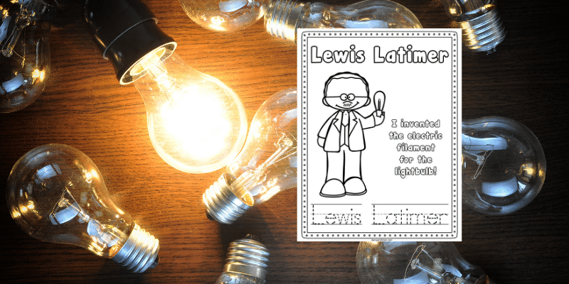 Lewis Latimer color and trace worksheet on background with several light bulbs with one lit up.