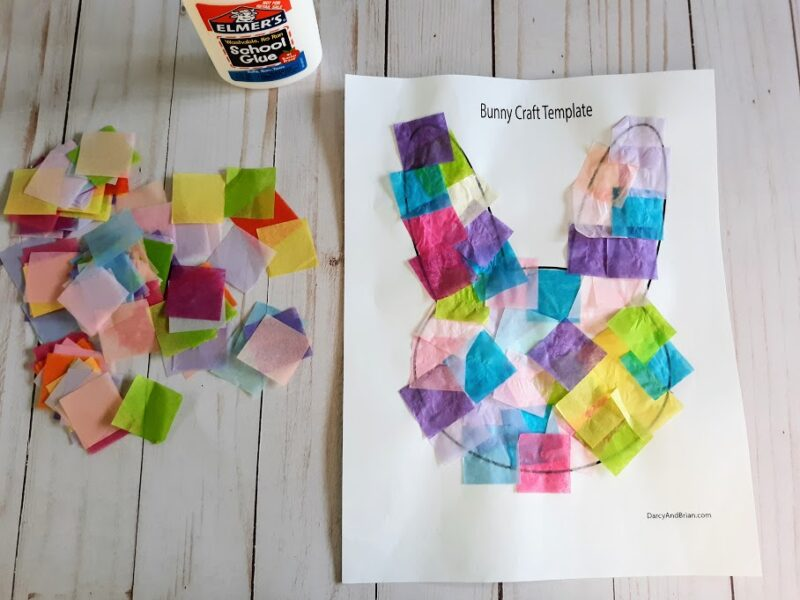 Tissue paper squares in popular spring colors glued to bunny template printout.