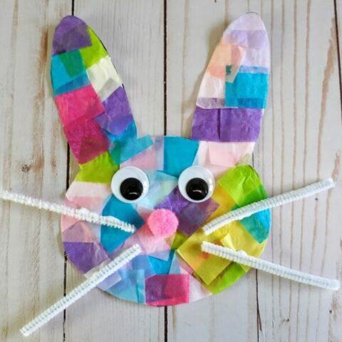 Bunny Tissue Paper Suncatcher Craft