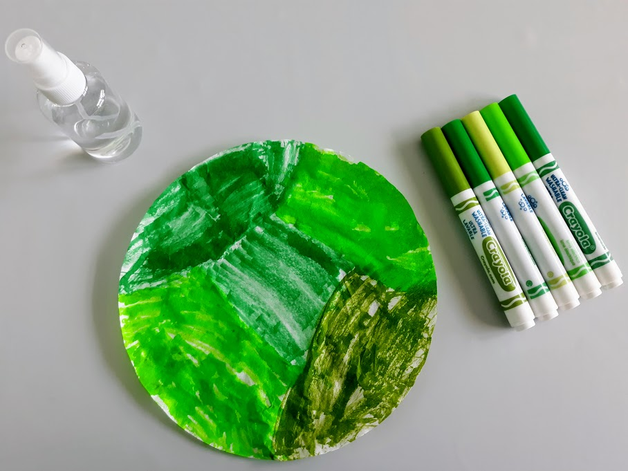 Round coffee filter colored with a variety of green markers. Markers and small spritz bottle set near filter paper.