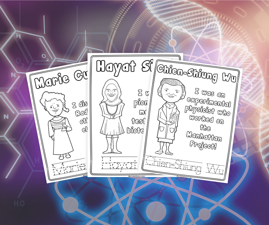 Printable coloring pages for Chien-Shiung Wu, Hayat Sindi, and Marie Curie overlapping each other on a background with different science symbols.