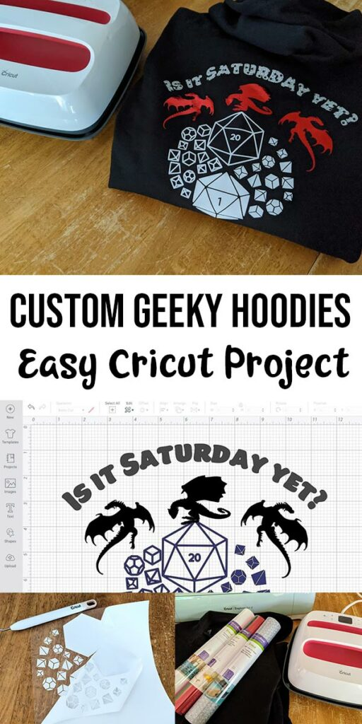 Picture of folded custom gaming hoodie next to EasyPress at top. Black text on white background says Custom Geeky Hoodies Easy Cricut Project. Below text is screenshot of design cut file in Design Space. Below that are a couple smaller pictures of project supplies and process of weeding the design.