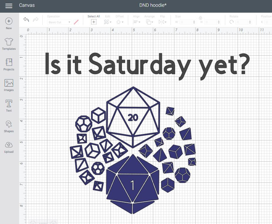Screenshot of dice sets cutting file and text that says Is it Saturday yet? in Cricut Design Space.