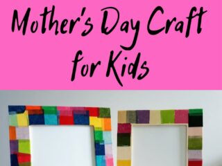 Top of image has white and black text over a bright pink square that says: Tissue Paper Picture Frame Mother's Day Craft for Kids. Bottom half of image shows two wood picture frames decorated with tissue paper. No photos are inside the frame, only white paper.
