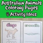 black and white text on green background says Printable Australian Animals Coloring Pages & Activity Ideas. Below text box are two coloring pages printed out laying side by side. One features the dingo and the other is a crocodile. The animal name and pictures are colored in.