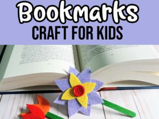 Black and white text on dark lavender background reads No Sew Felt Flower Bookmarks Craft For Kids. Bottom half of image shows an open hardcover book with a felt flower bookmark leaning against it and three felt tulip bookmarks laying down.