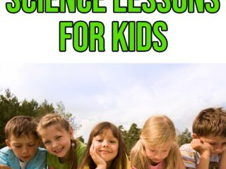 Bright green text outlined with black says 6 Outdoor Science Lessons for Kids above a picture of five Caucasian children laying in the grass smiling and writing.