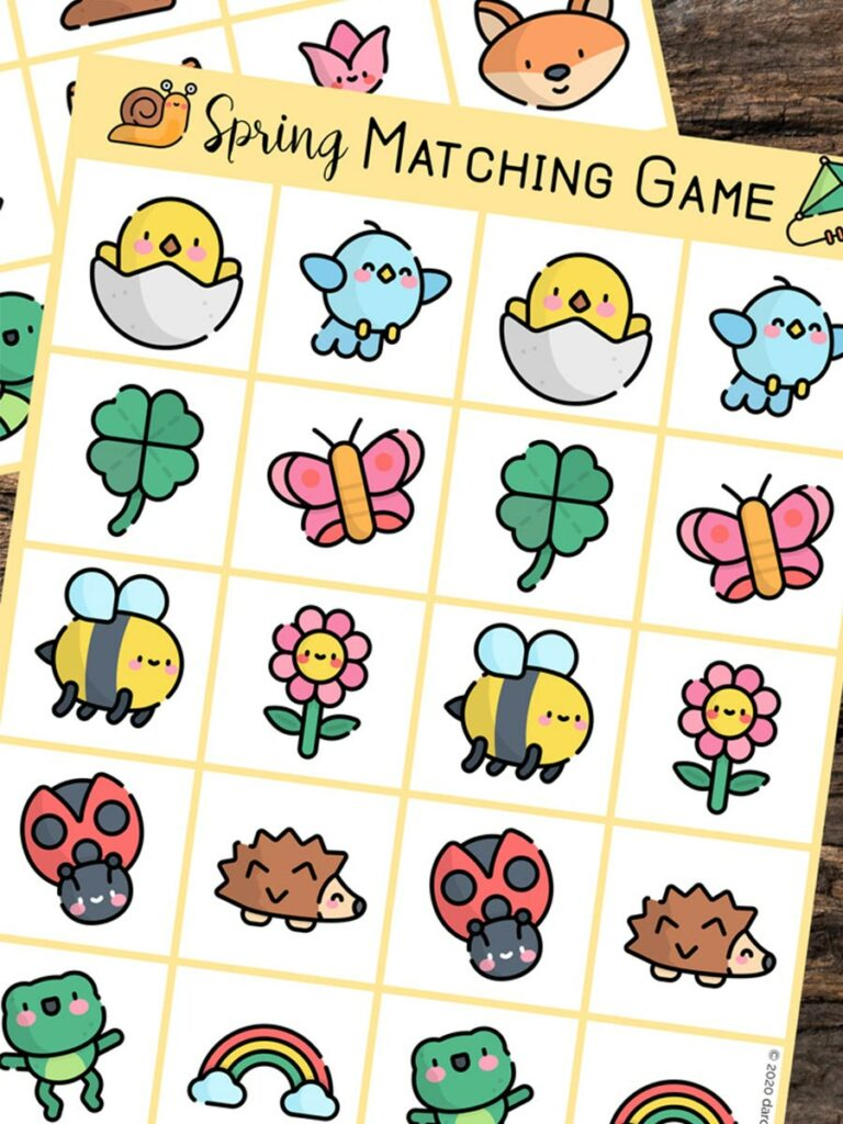 Preview image of spring matching printable game sheets. Spring items include hatching chicks, bluebirds, shamrocks, butterflies, bees, flowers, ladybugs, hedgehogs, frogs, and rainbows.