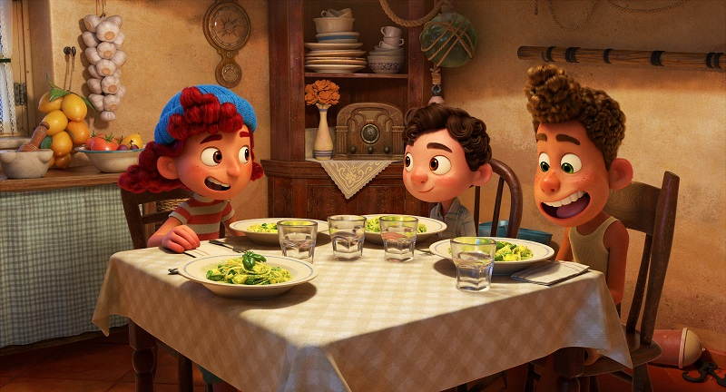 Giulia, Luca, and Alberto have dinner at Guilia's house in the animated movie Luca.