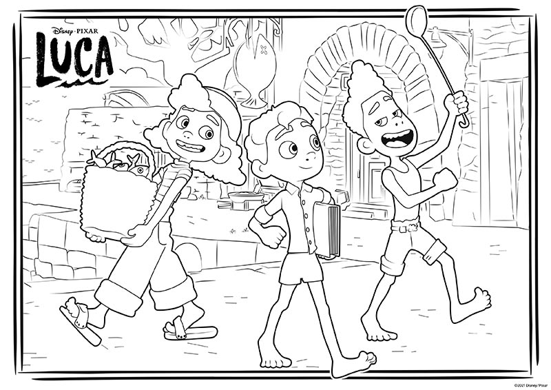 Coloring page with Luca and Alberto in human form walking down the street and Giulia carrying a bucket of fish.