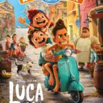 Printable Activity Pack Cover for the Disney Pixar movie Luca. It shows Alberto, Luca, and Giulia riding a Vespa scooter through the streets with other characters in the background.