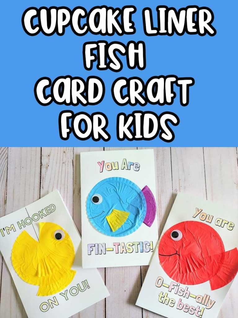 White text outlined in black on a blue background says Cupcake Liner Fish Card Craft for Kids. Bottom half shows overhead view of three completed printable cards with fish puns and decorated with cupcake liner fish.