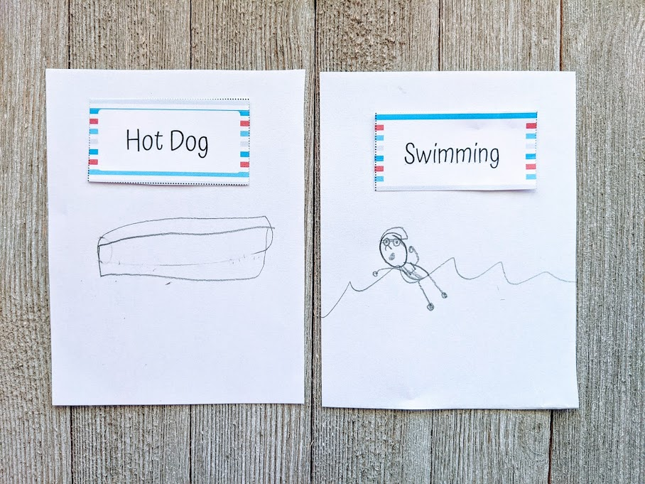 A child's pencil drawings of the Pictionary ideas hot dog and swimming.