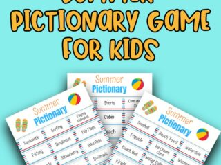 Black text says Printable. Orange text with black outline says Summer Pictionary Game for Kids. Preview image of three printable pages overlapping each other on a light blue background.