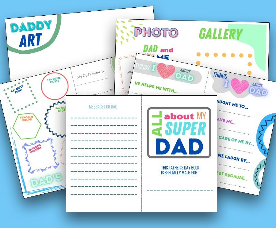Preview of all five Super Dad printable pages fanned out and overlapping each other on a light blue background.