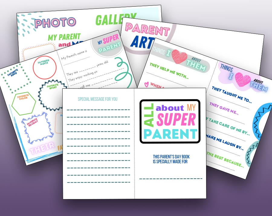 Preview of all 5 printable pages of the All About My Super Parent questionnaire booklet. Pages are overlapping and fanned out behind the cover page on a dark purple gradient background.