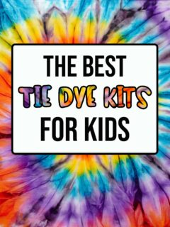 White text box with black outline on a bright multicolor tie dye background. Text says The Best Tie Dye Kits For Kids.