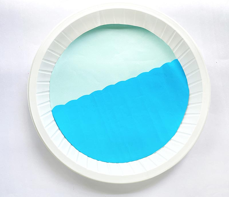 Light blue paper circle glued to center of plate with darker shade of blue cut in semi-circle with wavy line across glued on top of light blue paper to create the ocean.