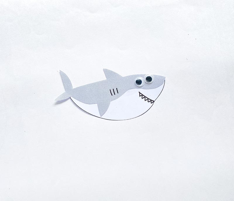 Gray and white paper shark glued together. Used black marker to draw lines for gills and mouth with teeth. Glued on two googly eyes.