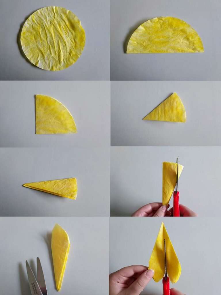 Collage showing the steps of folding the colored coffee filter and cutting it to look like sunflower petals.