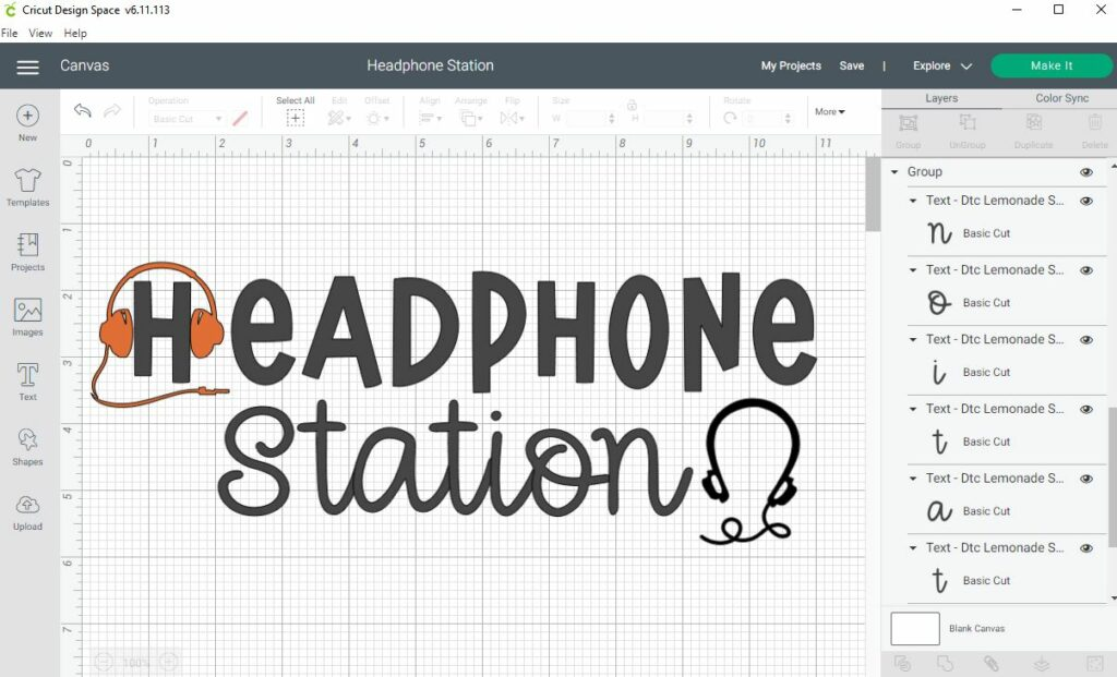 Screenshot of Cricut Design Space. HEADPHONE in black text with Station in a cursive font underneath. Slim black pair of headphones on the right of the word Station with curly cord. Orange headset over the letter H to look like it is wearing headphones.
