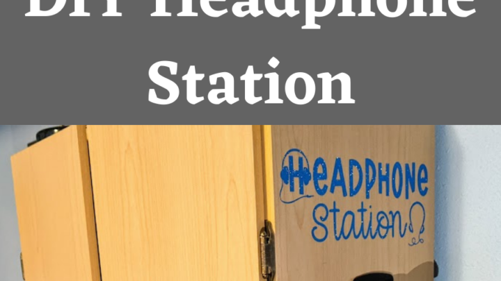 Black and white text on gray background reads: Computer Gaming Room Organization: DIY Headphone Station. Below is the side of a storage cabinet with shiny blue vinyl cut to say Headphone Station with headset shapes above hanging hook with a pair of blue headphones on it.
