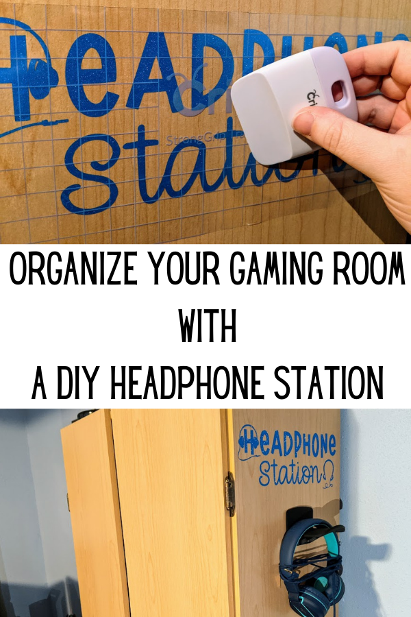 Top image shows scraper being used to apply vinyl design to side of wooden cabinet. Bottom image shows side of a storage cabinet with shiny blue vinyl cut to say Headphone Station with headset shapes above hanging hook with a pair of blue headphones on it. Between photos is a white rectangle with black text that says: Organize Your Gaming Room With A DIY Headphone Station.