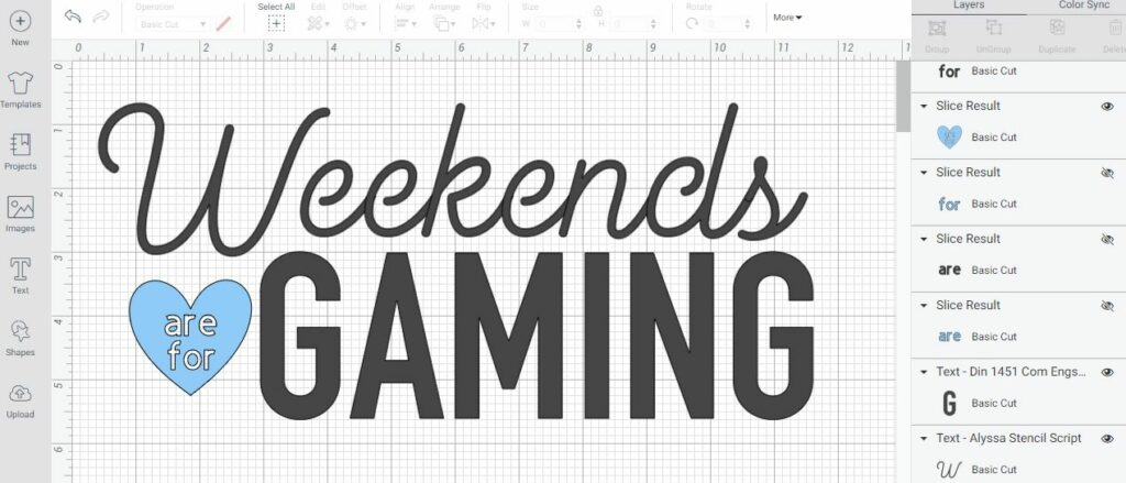 Screenshot of Weekends are for Gaming design within Cricut Design Space.