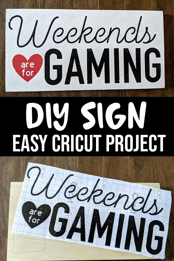 Top picture of Weekends are for Gaming sign after finished painting. Bottom picture shows black vinyl design laying across blank wood sign. White text on black background in between the pictures says DIY Sign Easy Cricut Project.